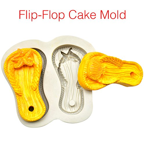 Bolange 3D Backen Silikon Backform, Kuchen Gelee handgemachte Flip Flops Form Party Supplies Kuchen Werkzeuge (Supplies Party Flip-flop)