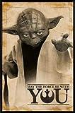 1art1® Star Wars Poster et Cadre (Plastique) - Yoda, Que La Force Soit avec Toi (91 x 61cm)