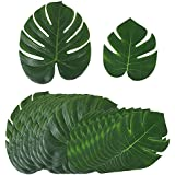 (pack 24pcs) Hoja de Palma Tropical Artificial Decoracion Verde Falsa de Imitación 29x35cm 18x20cm Hawaiana Luau Fiesta Boda Party Selva Playa (12*29cmx35cm + 12*18cmx20cm)