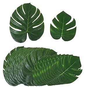【24 Stk / 2 Größen】Künstlich tropische Blätter (12 stk 35*29 cm + 12 stk 20,5*17,5 cm) für Hawaii Luau Jungle Beach Theme Party Dekorationen gefälschte Palmblatt Palme monstera Deko
