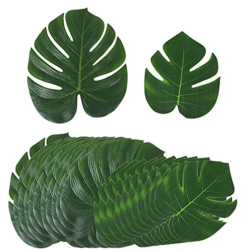 【24 Stk / 2 Größen】Künstlich tropische Blätter (12 stk 35*29 cm + 12 stk 20,5*17,5 cm) für Hawaii Luau Jungle Beach Theme Party Dekorationen gefälschte Palmblatt Palme monstera - Dschungel-palme
