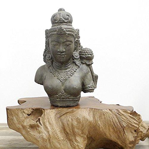 Oriental Galerie Dewi Tara Büste Stein-Figur Gartenfigur Asiatische Skulptur Buddha Lavastein 52cm