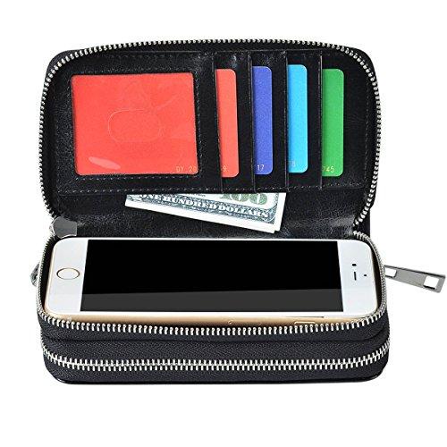 Bangbo PU pochette in pelle con doppia cerniera per carta del telefono borsa portatile per cellulare iPhone 7/7Plus/se/6s/6Plus/5S e Samsung Galaxy S8/8Plus/S7/S6/Xiaomi/LG Black Black