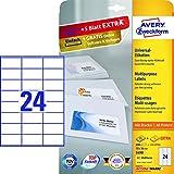 Avery Zweckform 3490 Adressetiketten (A4, Papier matt, 1200 Etiketten universal, 70 x 36 mm) 50 Blatt weiß