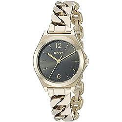 DKNY NY2425 - Reloj de cuarzo con correa de acero inoxidable para mujer, color negro