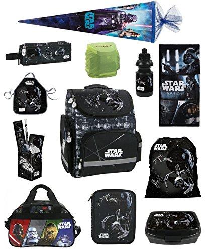 Familando Star Wars Schulranzen Set 17tlg. mit großer doppel Federmappe gefüllt 48-tlg., Regen-/Sicherheitshülle, Sporttasche, Schultüte 85cm, Dose und Trinkflasche schwarz
