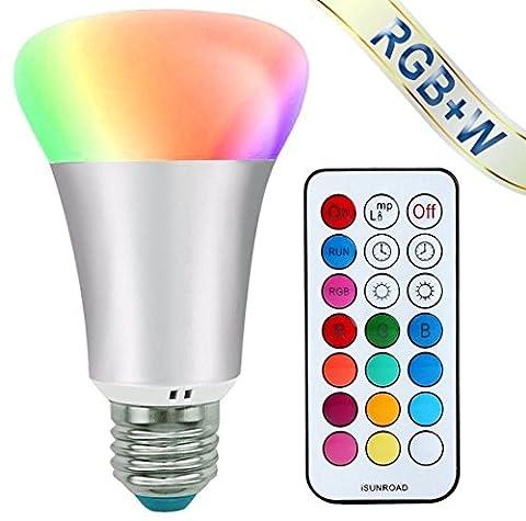LED RGBW Ampoule, Mifine 10W E27 RGB Dimmable LED Bulbs - 12 Changement de Couleurs - 4 Réglage Modes - Télécommande Sans Fil, RGB + Blanc [Classe énergétique A++]