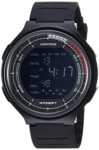 Armitron Sport 40/8418BLK - Reloj de pulsera para hombre, cronógrafo digital, correa de resina, color negro