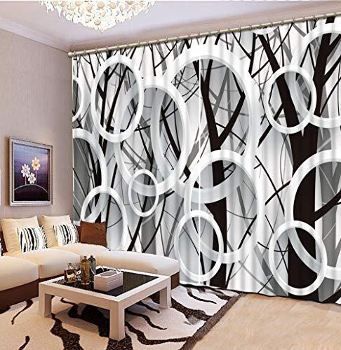 Wapel Moderne 3D-Filialen Kreis Fenster Vorhang Schwarz und Weiß 3D-Blackout Vorhang Für Wohnzimmer 3D-Vorhänge 240X260CM (Weiße Und Schwarze Blumen-vorhänge)