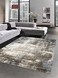 Modern carpet short pile livingroom carpet stone look brown beige grey size 120x170 cm