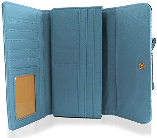 KukuBird Arco con serpente pelle modello Fodera Grandi signore della frizione della borsa Wallet LIGHT BLUE