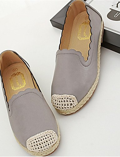 ZQ Scarpe Donna - Mocassini - Casual - Punta arrotondata - Basso - Finta pelle - Bianco / Grigio , gray-us8 / eu39 / uk6 / cn39 , gray-us8 / eu39 / uk6 / cn39 white-us6 / eu36 / uk4 / cn36