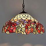 GDLight Lampade a Sospensione Stile Tiffany, 40CM Lampadario in Vetro colorato retroilluminato Europeo per Bar Ristorante