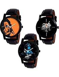 SP Analogue Multicolor Dial Men's Combo Of 3 Watch - 6256