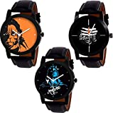 #5: SP Analogue Multicolor Dial Men's Combo Of 3 Watch - 6256