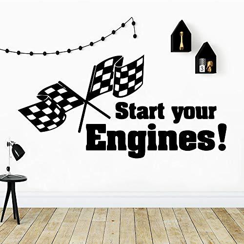 3D starten Sie Ihre Motoren Wasserdichte Wandaufkleber Wandkunst Dekor Wasserdichte Wandtattoos Dekor Wandtattoos Zartrosa 43 * 86cm