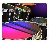 MSD Mauspad Naturkautschuk Mousepad Bild von Musik Drum Instrument spielen Percussion Musical Beat Rhythm Band Sound Rock Musiker Metall Snare chrom