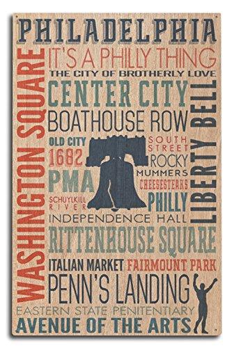 Philadelphia, PA-Typografie, holz, mehrfarbig, 10 x 15 Wood Sign - Philadelphia Laterne