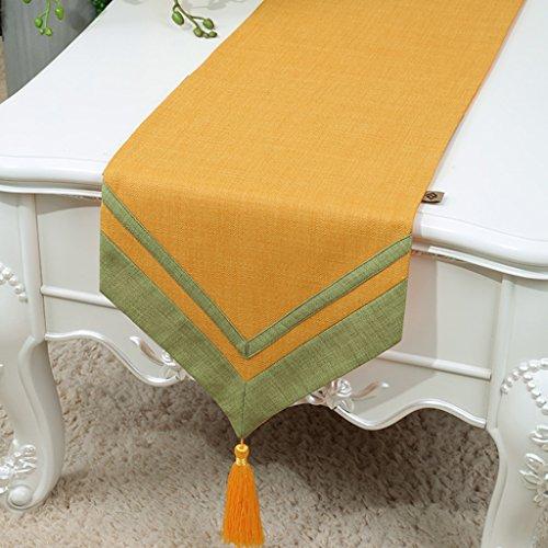 BSNOWF-Chemin de table Table Runner Classique Rétro Table Basse Tissu Solide Couleur Lin Style Minimaliste Moderne ( Couleur : Le jaune , taille : 33*200cm )