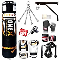 ONEX Heavy Filled 11 Piece 5ft Boxing Punch Bag Set Gloves Bracket Chains MMA Pad