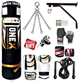 Heavy Filled 11 Piece 5ft Boxing Punch Bag Set Gloves Bracket Chains MMA