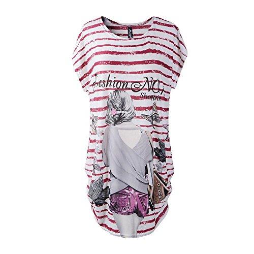 katuo femmes robe à manches Cap pour femme à motif floral mélange de coton Tee Tops Red girl B-03