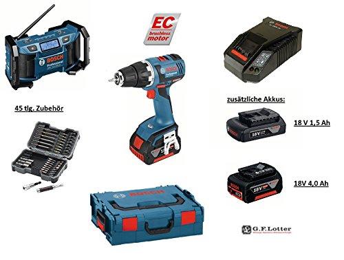 Preisvergleich Produktbild Bosch SET: GSR 18V-EC Akku-Bohrschrauber (bürstenlos) + GML Soundboxx Baustellenradio inkl. 2x 4.0 Ah & 1x 1.5 Ah Akku , Ladegerät, 43-tlg. Bitset in L-Boxx