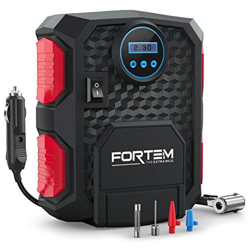 Compresor de Aire Digital Portátil FORTEM | Inflador de Neumáticos Portátil Numérico | Alimentación Eléctrica de 12V | Fácil de Almacenar | Apagado Automático | 3 Boquillas y 1 Maletín Incluidos