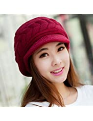 Distinct® Double couche chaude hiver chapeau des femmes bonnet Beret Crochet Slough Beanie Baggy