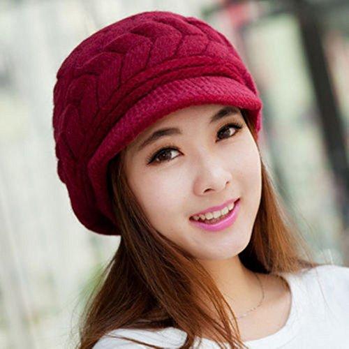 Distinct® Doppio strato caldo inverno cappello donne maglia basco uncinetto Slough larghi Beanie cappello (rosso porpora)