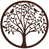 Mural Árbol de la Vida de Metal marrón Oriental para decoración Sol Naciente - LOLAhome
