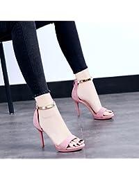 GAOLIM Sandalias De Verano Femenina Correa Ranurada Detalle Con El Rocío-Toe Taiwán Impermeable Zapatos De Tacón