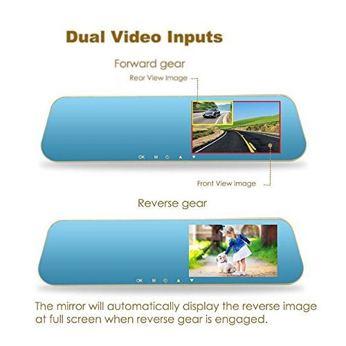 Dax-Hub TFT LCD ad alta risoluzione Video sensore di parcheggio di retrovisione Car System Backup Inversione Rilevatore di veicoli Monitor con fotocamera impermeabile LCD Monitor dinversione di soste H8 4.3 Dua Camera Monitore