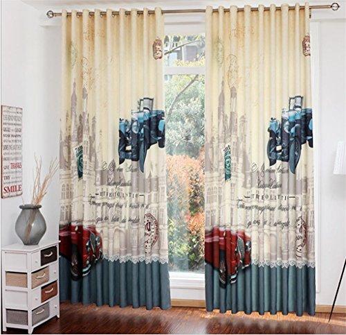 KKLL Leinenvorhänge Velvet Big Uhr Autodigitaldruck Drape Lärm Verringerung fester Thermal Pleat Fenster drapiert Panels Vorhang für Schlafzimmer (2 Platten) , 2 , C