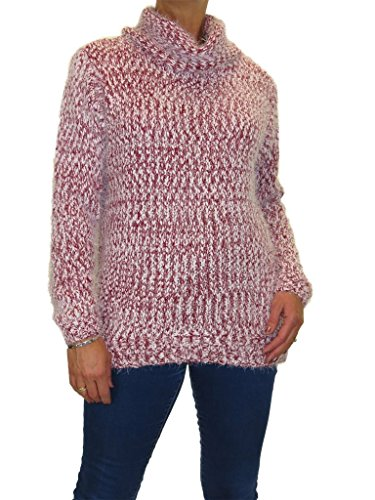 ICE Weicher Tweed-Strick, Flauschiger Strick, Roll-Neck-Pullover Rot