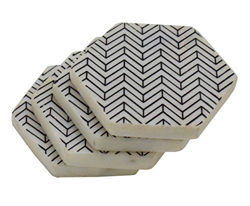 Hashcart-Form Hexa Zig Zag mit Marmor Untersetzer für drinks-hot und Kälte-/Marmor Marble Coaster Essen, Kaffee, Tee-Deko-Untersetzer-Set von 6) -