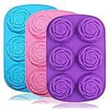 Grande fiore di rosa in silicone vassoio per torta Bread pudding Chocolate muffin sapone, Senhai 6-cavity 3D Ice Cube Handmade molds- viola e blu e rosa