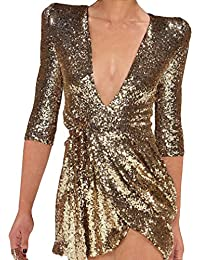 Vestito Donna - Scollo V Abito Sexy Mini Abito di Paillettes Mezza Manica  Moda Cocktail Mini 77db824e955