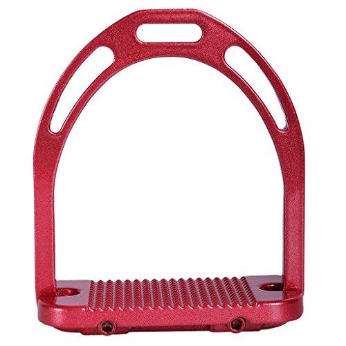 QHP Steigbügel Aluminium Metallic extra breite Trittfläche Metallprofil verschiedene Farben (Hellrot)