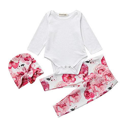 ung Set, 3pcs Neugeborenen Baby Mädchen Solide Strampler Bluse T-shirt + Floral Bedruckte Hosen Kleidung Set Outfit (Weiß, 70/0-6 Monate) (3 Monats Baby Foto Ideen)