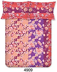 Bombay Dyeing Axia Collection Flat Double Bedsheet Set, Peach, 224x254cm, 4909 A