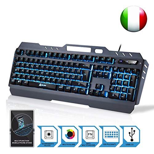 KLIM Lightning - Tastiera Semi-Meccanica QWERTY Ibrida - Scelta di 7 Colori + Garanzia di 5 Anni - Struttura Metallica - Tastiera per Gaming Videogiochi - PC PS4 Windows Mac - Nuova 2019 Versione