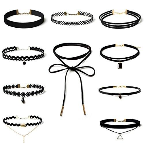 lace-choker-kingwo-10-stuck-choker-halskette-set-stretch-samt-classic-gothic-tattoo-spitze-choker-fu