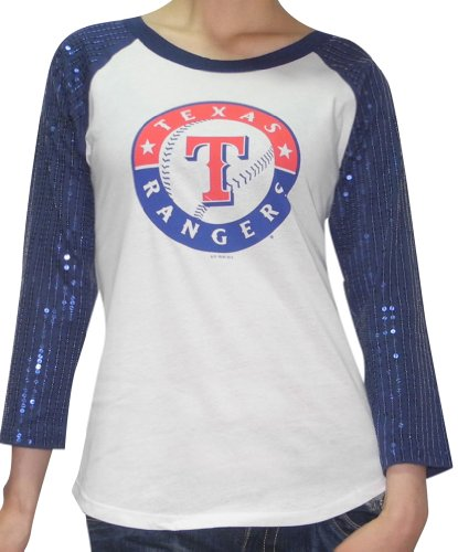 MLB Womens Texas Rangers Athletic 3/4 Sleeve Shirt with Sequins M Blue & White (3/4 Jersey-sport-shirt Sleeve)