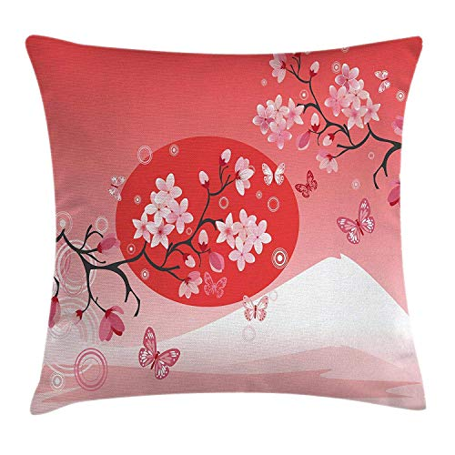Asian Throw Pillow Cushion Cover, Japanese Cherry Branches Over The Sun with Mountain Reflection Fuji Season Asian Image, Decorative Square Accent Pillow Case, 18 X 18 Inches, Red Pink