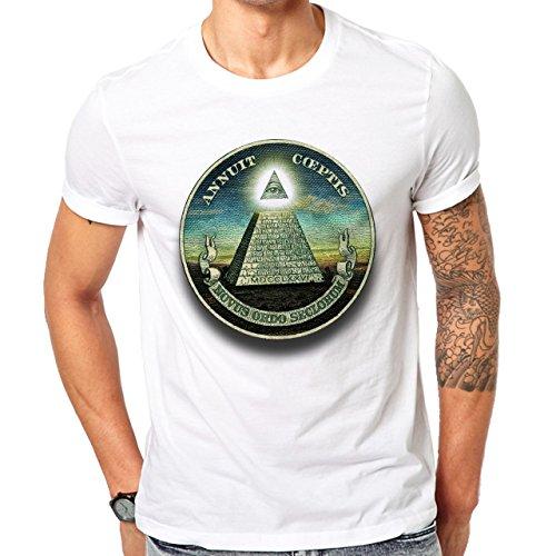 Illuminati Triangle Art Majestic Novus Ordor Herren T-Shirt Weiß