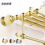 Daadi Badezimmer Wand Handtuchhalter in antikem Marmor voller Kupferstange Golden Jade Bad Handtuchhalter Hardware-Kit, Rose Gold-Kupfer