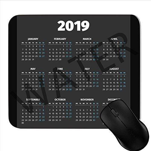 Alfombrilla de ratón para Videojuegos 2019, con Calendario, 17,78 x 22,86 cm, Antideslizante, Base de Goma, Alfombrilla para ratón 1S3