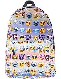 Cayuan Emoji Impresión Mochilas Escolares de Estudiante Mujer Niños Bolso de Escuela Viaje Mochila