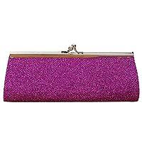 Women Ladies Girls Sparkly Glitter Clutch Handbag Wallet Wedding Bridal Prom Party Evening Purse Purple